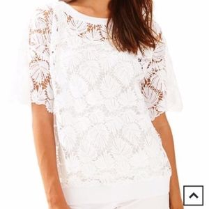 Lilly pulitzer white kay popover in lace